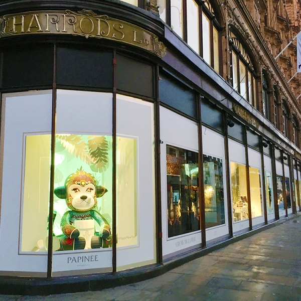Papinee x Harrods - taking over all 24 windows, they toy kingdom and the beauty hall